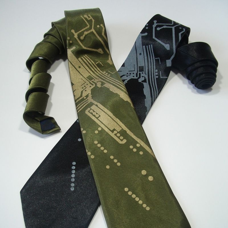 earth friendly, green wedding, geek chic, computers, weddings, silk, natural fiber, circuit board, necktie, tie, men's tie
