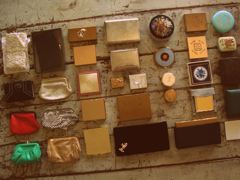 vintage, compacts, makeup, brass