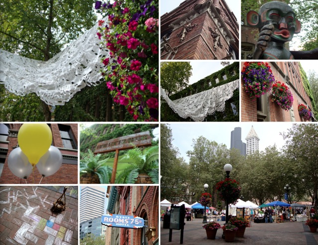 Occidental park, seattle square market, pioneer square