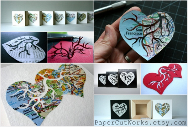 PaperCutWorks, Seattle Square, Seattle, custom, handcut, map, dictionary, hearts, anatomical heart, recycled, eco, weddings, table numbers, art