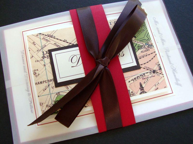 Custom Wedding Invitation, Red, Brown, Roses, Paris