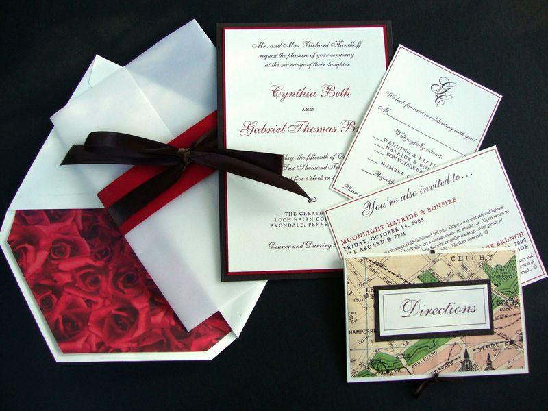 Custom Wedding Invitation, Red, Brown, Roses, Vintage Paris Map