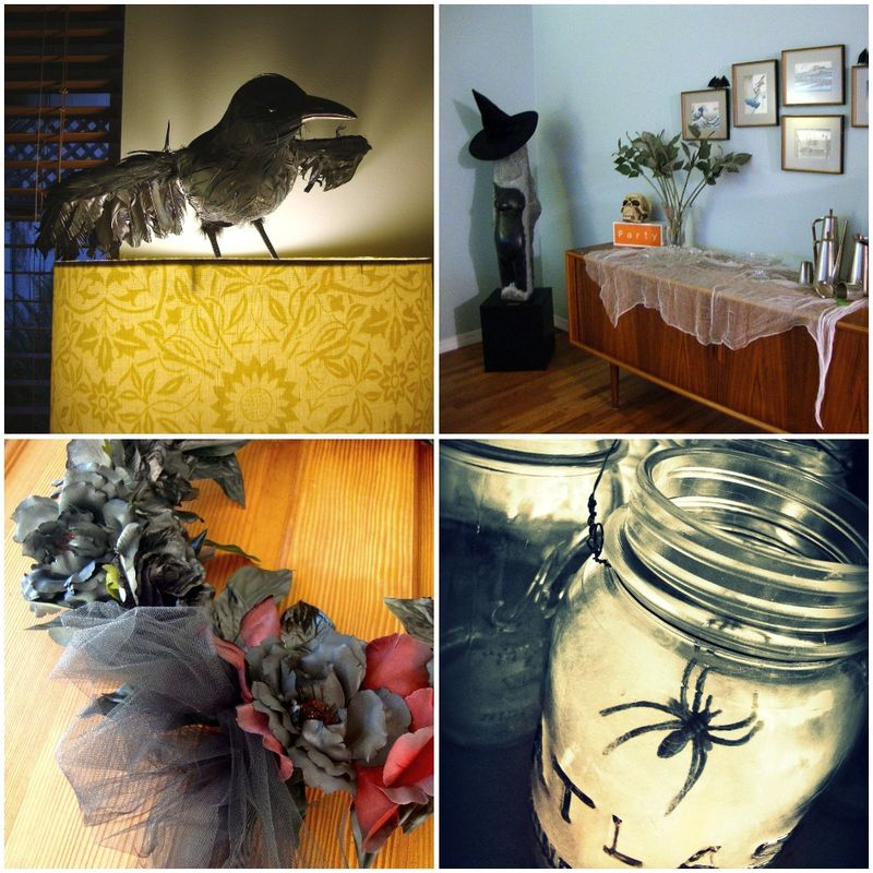 Halloween Decorations, Funeral Wreath, Spiderweb Lanterns, Crow