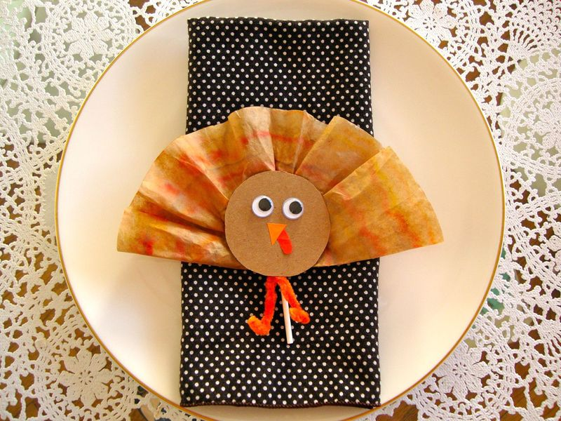 Thanksgiving Turkey Lollipop Favor Place Setting