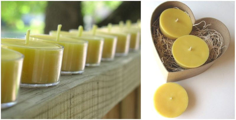 beeswax, candles, votives, tea lights, wedding favors, floating candles, honeybee, bees, green weddings, earth friendly, eco chic