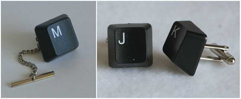 recycled, upcycled, keyboard, monogramed, custom, cuff links, tie tack, earth friendly, green wedding, geek chic, computers, weddings