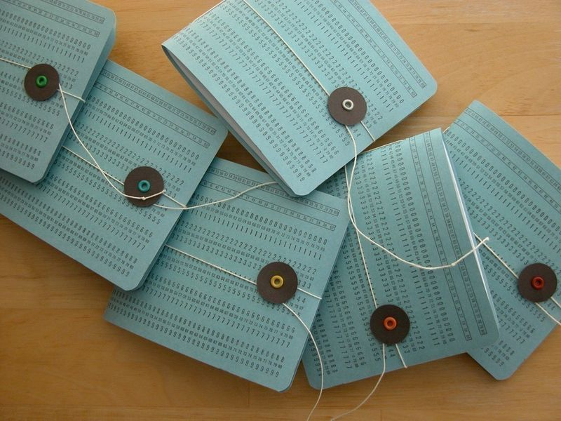 punch card, recycled, upcycled, earth friendly, green wedding, geek chic, computers, weddings, ceremony program, wedding favor