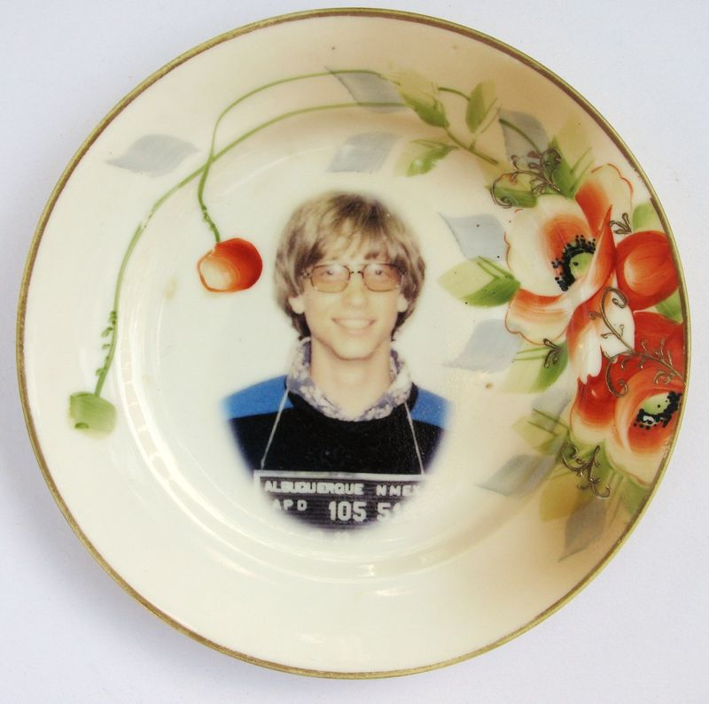 bill gates, upcycled, antique china plate, altered art, earth friendly, green wedding, geek chic, computers, weddings