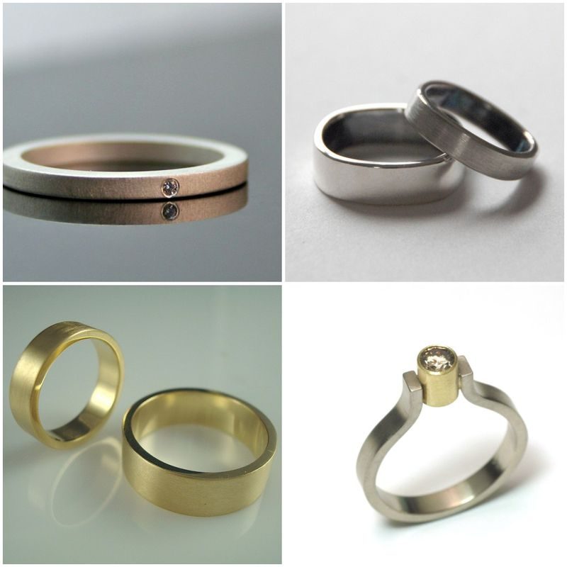 recycled, reclaimed, gold, silver, wedding rings, modern, sleek, binary love, geek chic, computers, weddings