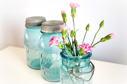 vintage ball mason jars aqua