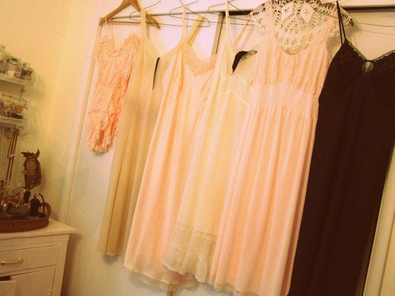 vintage, lingerie, slip, lace, satin, silk, pink, blue, nude, frilly, feminine, Paris, chic