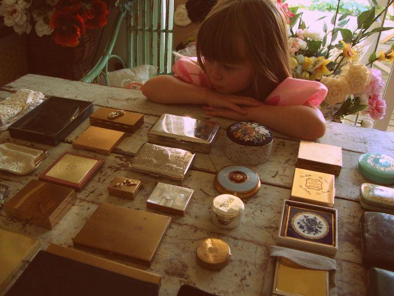 vintage, compacts, makeup, coin purse