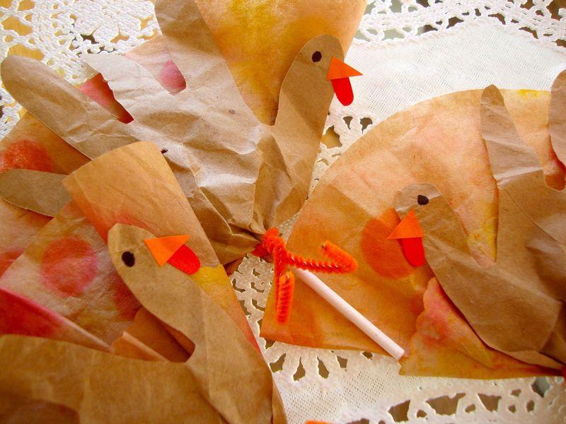 Gobble Pops!  DIY Eco-Chic Coffee Filter Turkey Lollipops