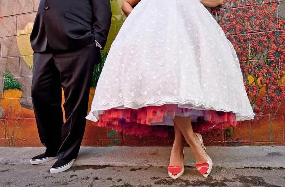 Valentines-themed-vintage-wedding-red-purple-petticoat-under-wedding-dress-retro-bridal-heels