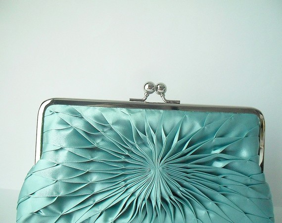 aqua pleated silk purse