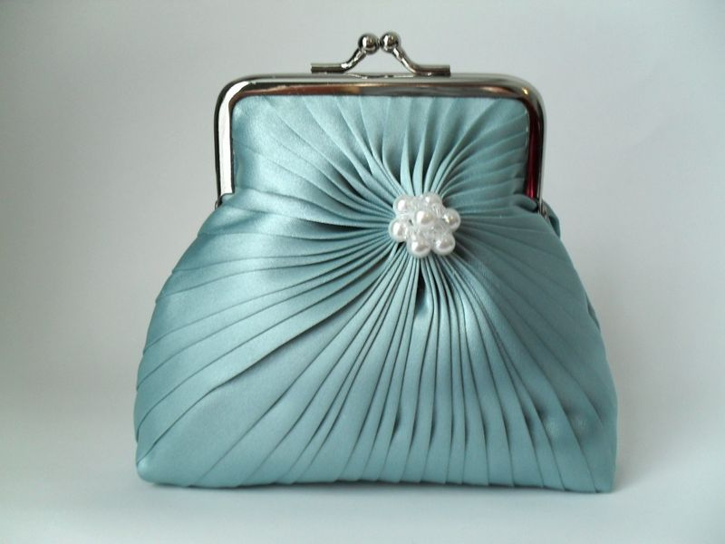 pleated silk aqua purse with pearls