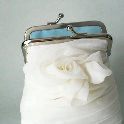 white chiffon purse