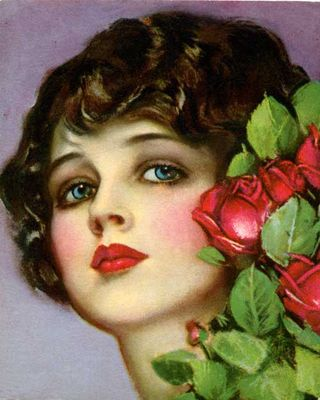 Earl Christy Blue Eyed Beauty with Roses