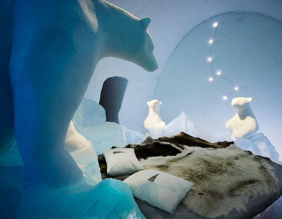 Ice Hotel polar bear art suite