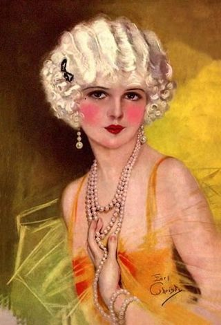 Earl Christy Flapper Girl with Pearls