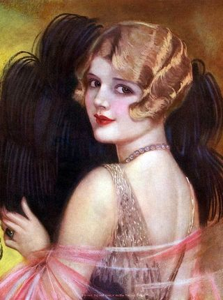 Earl Christy Girl with Feathers