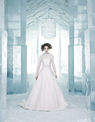 Bride in Ice Hotel lobby
