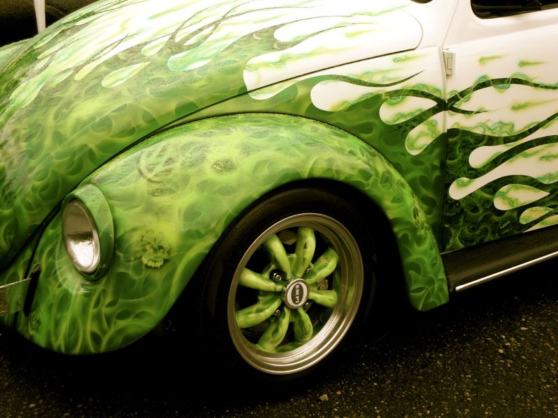 vintage vw bug, green and white flames