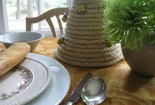 DIY Bee Skep rope centerpiece - Rosh Hashanah
