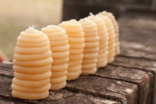 Bee skep beeswax candles