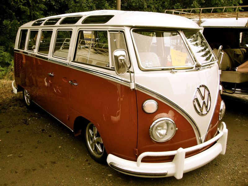 vintage vw split-window bus, red and white