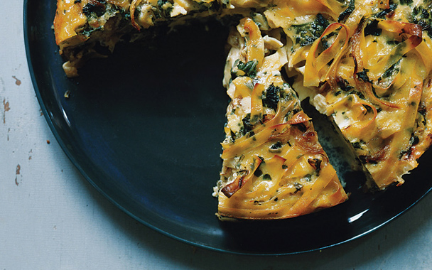 Swiss shard and fontina kugel