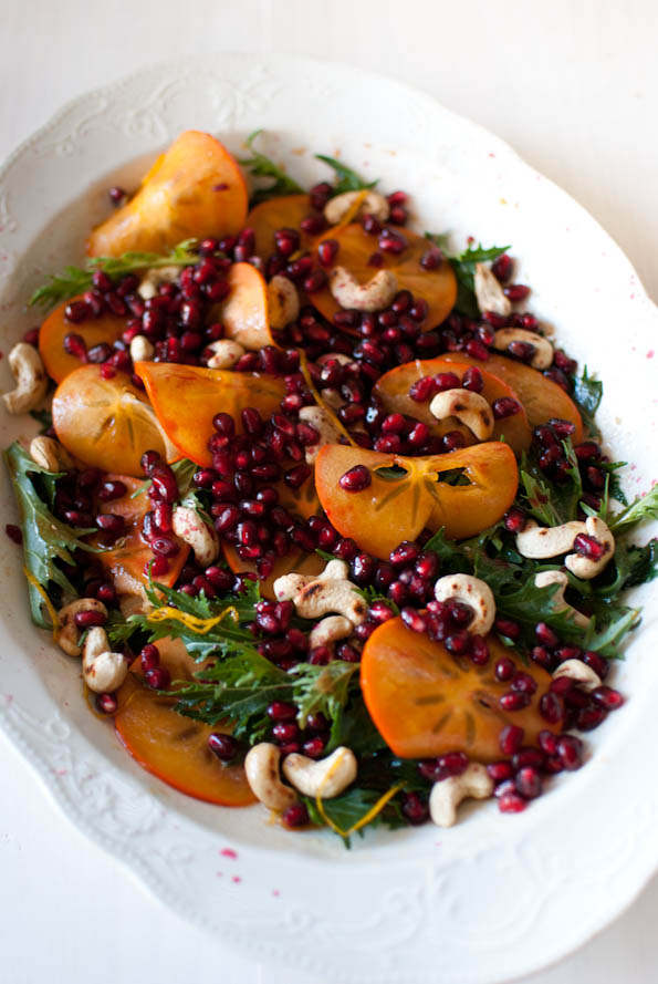 Mizuna, persimmon and pomegranate salad