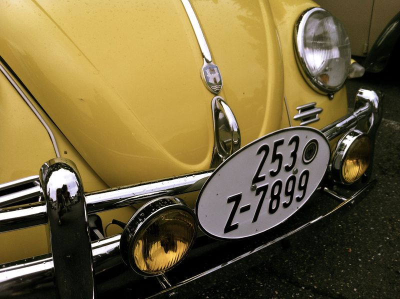 vintage yellow VW bug