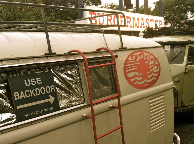 vintage VW bus, hippies use backdoor