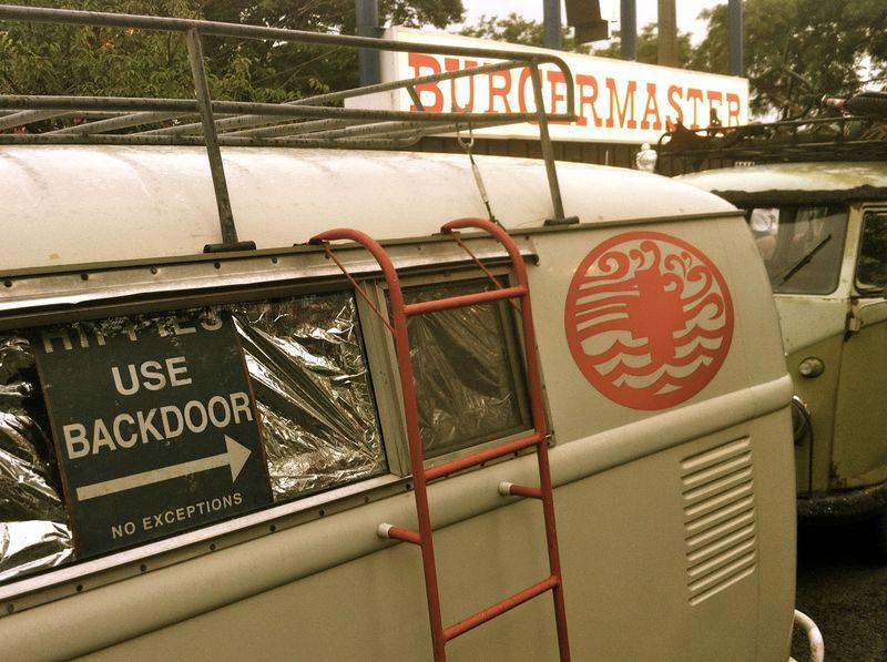 vintage VW bus, hippies use backdoor