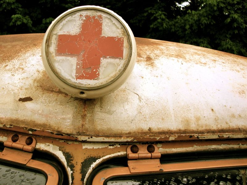 Vintage VW bus ambulance