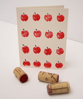 Rosh Hashanah craft - Cork apple stamped cards