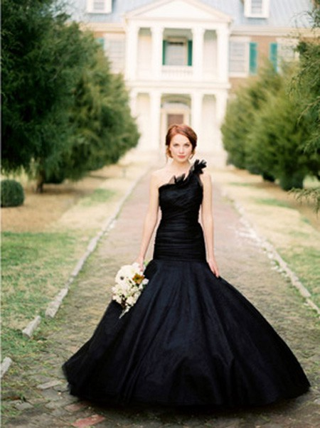 Black Wedding Vera Wang wedding gown photographed by Jose Villa