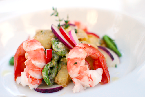 Spot Prawns on Rainbow Radish Fiddlehead Potato Salad