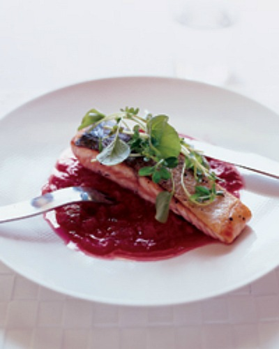 Sauteed Salmon and Rhubarb Marmalade