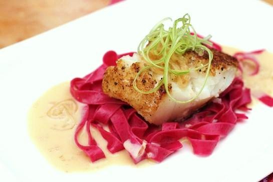 Fresh-beet-pasta-sauteed-cod