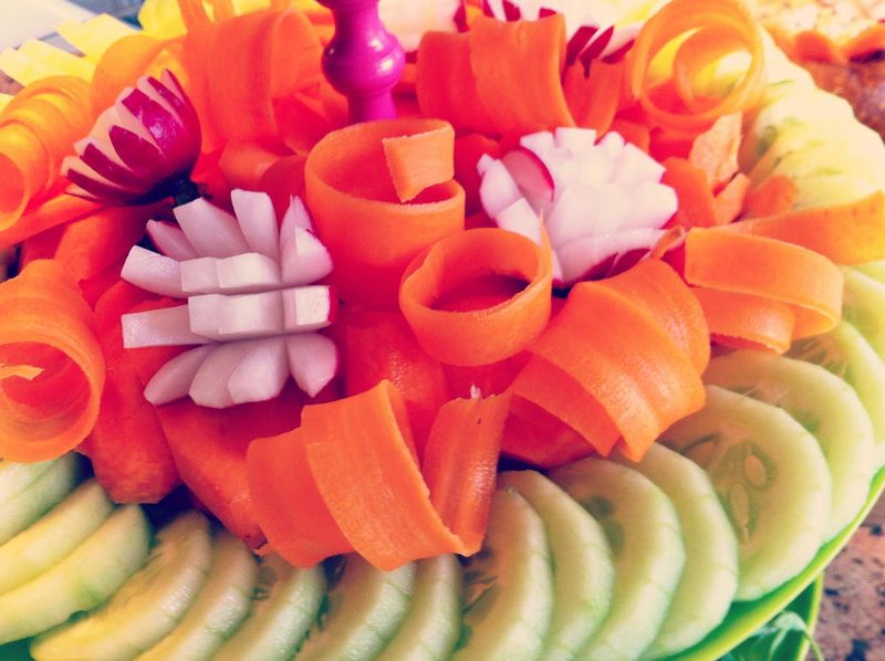 carrot curls and radish flowers, Dr. Seuss Inspired Vegetable Tray