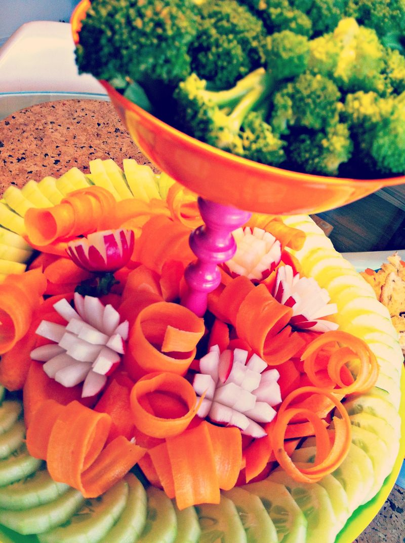 Dr. Seuss inspired vegetable tower, relish tray, crudite plate
