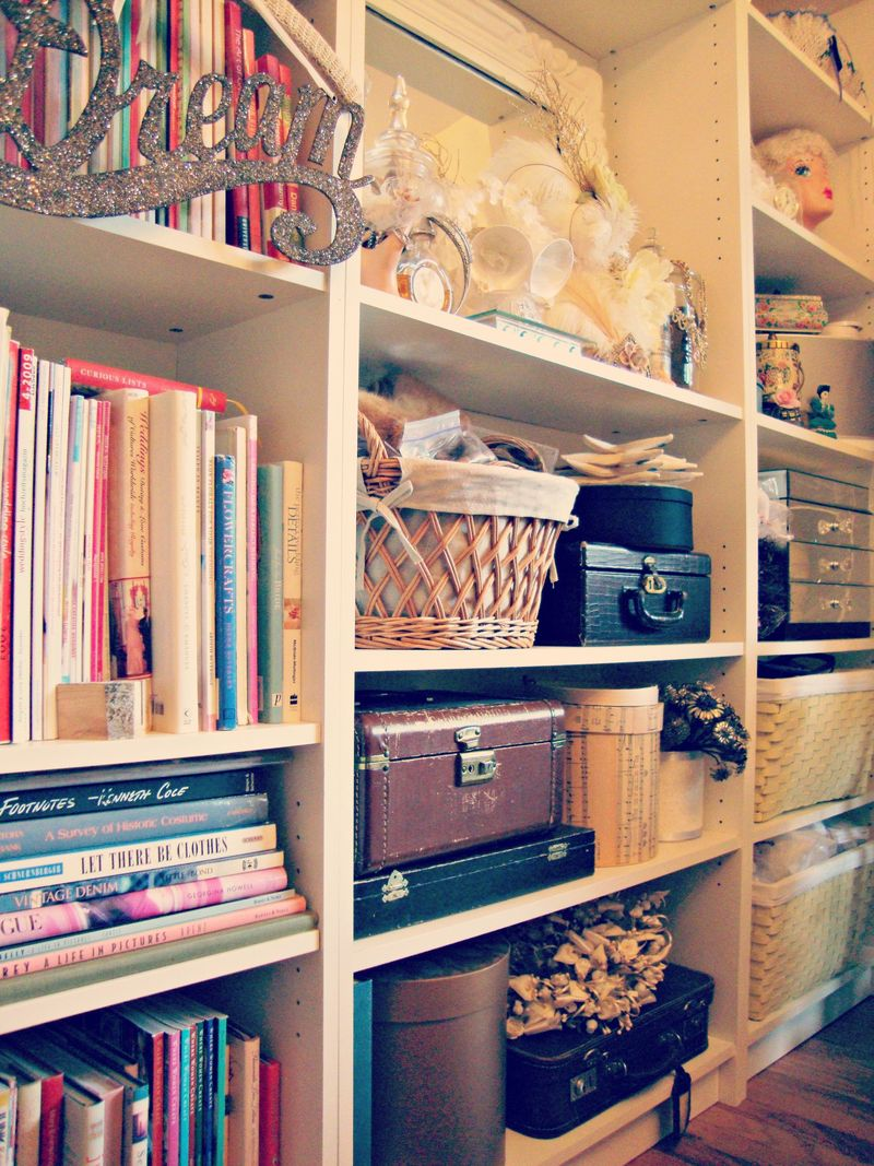 Wall of bookshelves