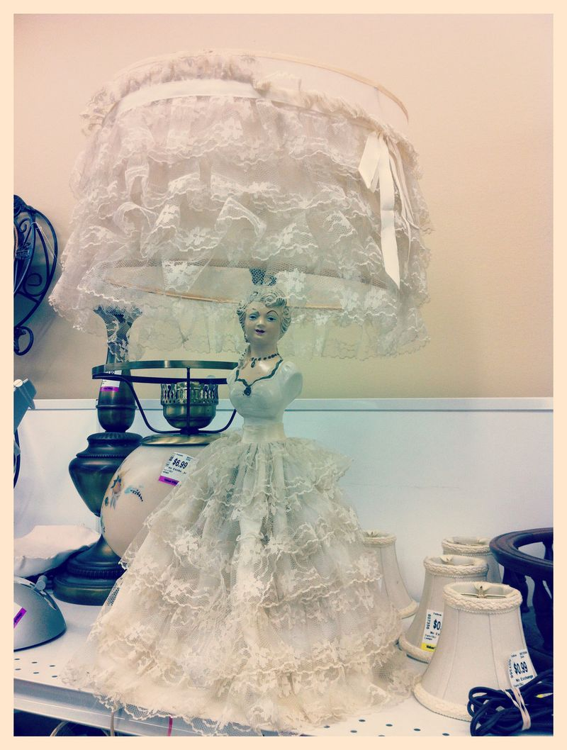 Vintage Lace Dress Woman Lamp and Lampshade