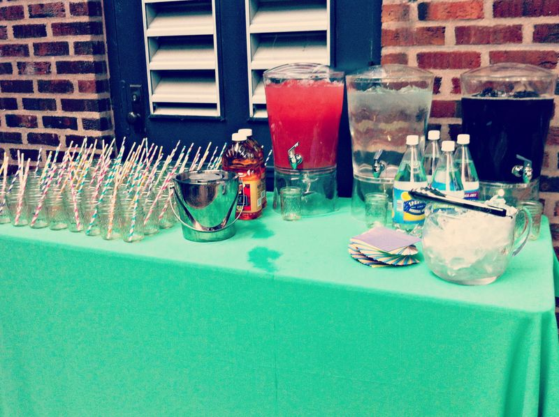 Drink Table with Mason Jar Glasses