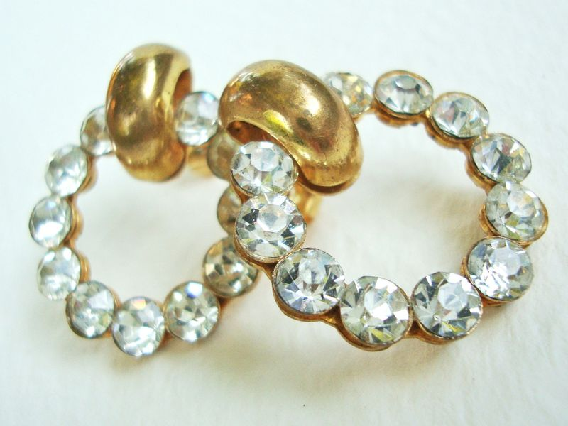 Rhinestone hoop earrings made from vintage rhinestone buttons