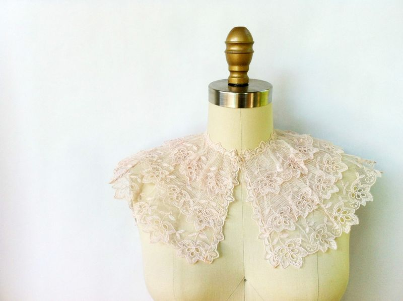 Gorgeous vintage lace capelet...would be so pretty for a wedding or flower girl.