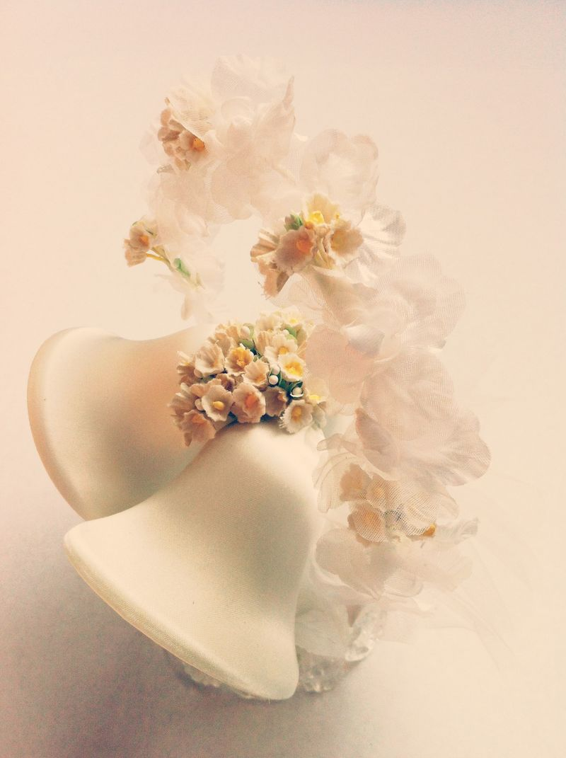 Sweet vintage wedding bell cake topper.