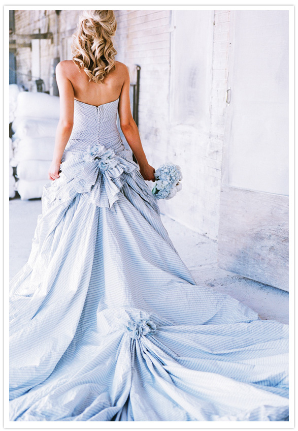 Blue seersucker wedding dress.